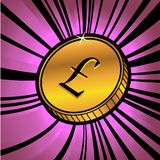 Coin with symbol of Pound sterling currency Royalty Free Stock Image