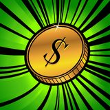 Coin with symbol of us dollar currency. Illustration of golden coin with symbol of us dollar currency Stock Image