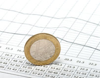 Coin on the table. Coin one euro on the table with numbers. A close up Stock Images
