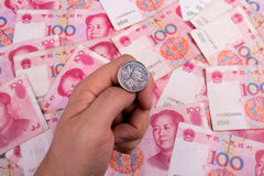 Coin tossing. With China Yuan Stock Photography