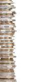Coin tower of Australian money. Border of stacked Australian circulated coins, isolated on white Royalty Free Stock Photography