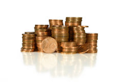 Coin Tower. Staples of European Money Coins Stock Photo