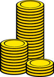 Coin towers vector illustration. Vector illustration of some coin towers Royalty Free Stock Photos
