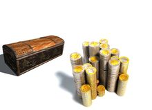 Coin and treasure chests Royalty Free Stock Images