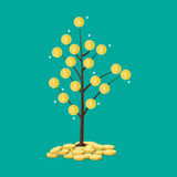 Coin tree. Concept of savings. Vector illustration in flat style Stock Photos