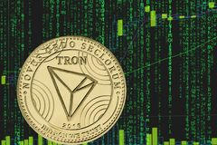 Token Trx Tron Cryptocurrency On The Background Of Binary Crypto