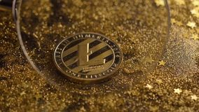Coin under Loupe Belongs to Litecoin Virtual Currency Macro. Macro coin under loupe belongs to litecoin virtual currency which data fixed in form of blocks stock video footage