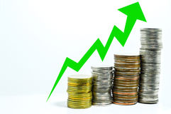 Coin uptrend graph make money. Concept Stock Photos