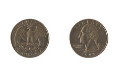 Coin USA 25 cents. Royalty Free Stock Photo