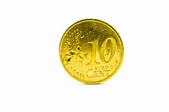 A coin value of ten Euro cents. On on a white background Stock Photography