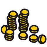Coin (vector). Pile of coins (cmyk to rgb Stock Photo