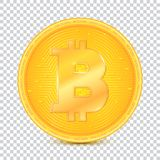 Coin of virtual currency Bitcoin. Icon, golden money symbol of bitcoin isolated on transparent background. Symbol of. Technology. Digital currency Royalty Free Stock Photos