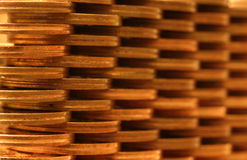 Coin wall. Wall of coins, fading to blur Royalty Free Stock Image