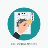 Coin washing machines with integrated payment system and hand ho. Lding coin,icon flat design vector illustration stock illustration