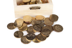 Coin in wooden box Royalty Free Stock Photography