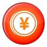 Coin yen icon, flat style Stock Photography