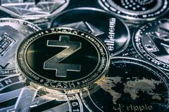 Coin Zcash cryptocurrency on the background of the main altcoins. Ethereum, Dash, Monero, Litecoin, iota stock images