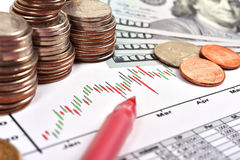 Coina and chart Royalty Free Stock Images