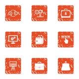 Coinage icons set, grunge style. Coinage icons set. Grunge set of 9 coinage vector icons for web isolated on white background Stock Photography