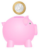 Coinbank and one euro coin Royalty Free Stock Photo