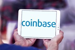 Coinbase logo. Logo of Coinbase on samsung tablet . Coinbase is a digital asset broker. They broker exchanges of Bitcoin, Ethereum , Litecoin and other digital Stock Images