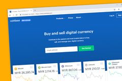 Coinbase website homepage. Company to exchange, buy, and sell digital cryptocurrency like stock photography