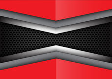 Coincidencia gris roja abstracta del metal en vector moderno de la textura del fondo del diseño de la malla del círculo Fotos de archivo libres de regalías