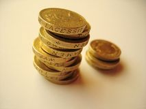 Coins 1. Stack of pound coins stock photos