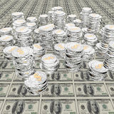 Coins on 100 us dollar. Background Stock Photography