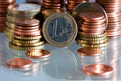 Coins. Euro currency-several coins on a desk Stock Photos