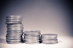 Coins. A variety of coins on spot light background Stock Photography