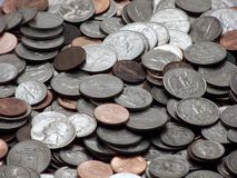 Coins. Quarters, dimes, nickels and pennies Royalty Free Stock Photos