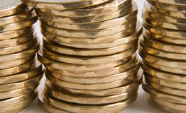 Coins. Gold coins - macro Royalty Free Stock Images