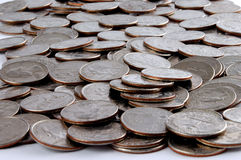 Coins. Spread over surface stock photo