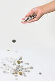 Coins. Woman hands with some coins Stock Image