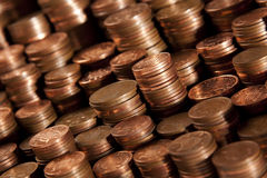 Coins. Stacks of UK copper coins Stock Photography