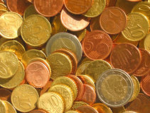 Coins. Euro coins of different denomination, Italy Royalty Free Stock Image
