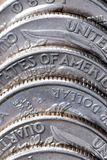 Coins. A pile of coins up close stock images