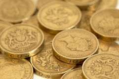 Coins. English one pound coins in close up stock photo