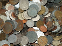 Coins. Background with some romanian coins Stock Photos
