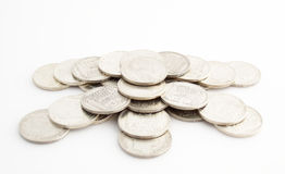 Coins. The silver coins for the rich life Stock Photography