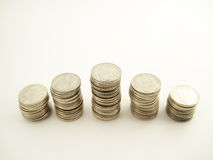 Coins. The silver coins for the rich life Royalty Free Stock Image