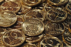 Coins. Ukrainian coins, which are randomly Royalty Free Stock Image