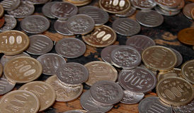 Coins. Some Japanese coins on a table Stock Photos