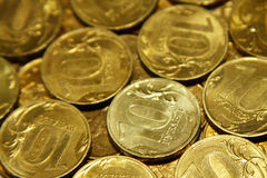 Coins. Russian rubles lying on each other Stock Photos