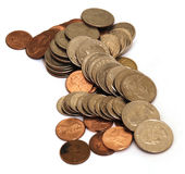 Coins. Piles of coins isolated on white background Royalty Free Stock Image