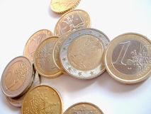 Coins 2. Some euro coins casually disposed Stock Photography