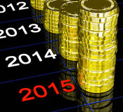 Coins On 2015 Showing Financial Visions. Or Forecasting stock illustration