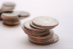 Coins. A stack of several different tipe of coins Royalty Free Stock Photos