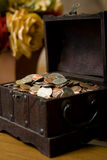 Coins. Of money inside the box royalty free stock photo